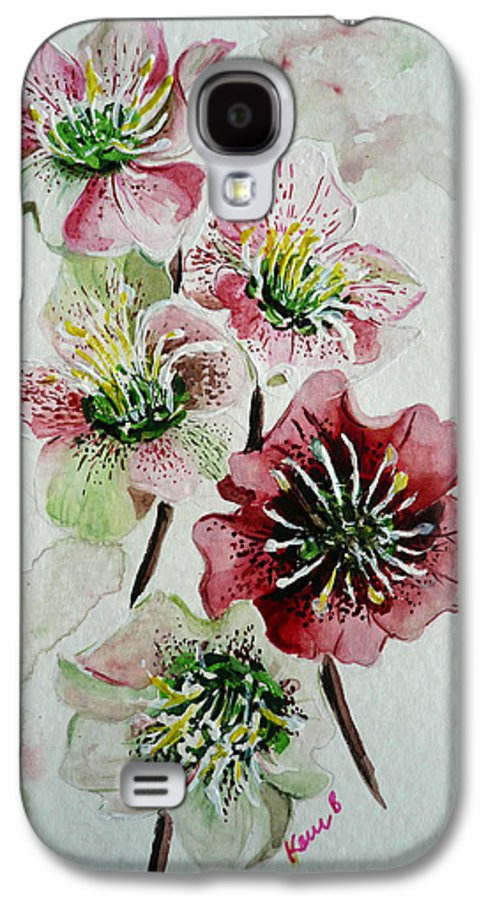 Floral Flower Pink Galaxy S4 Case featuring the painting Christmas Rose by Karin Dawn Kelshall- Best