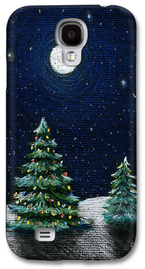 Christmas Trees Galaxy S4 Case featuring the drawing Christmas Trees In The Moonlight by Nancy Mueller