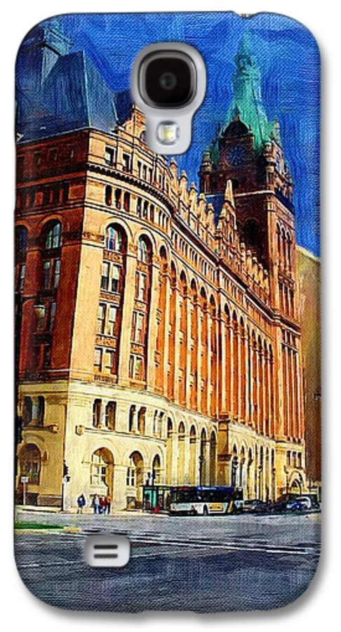 Architecture Galaxy S4 Case featuring the digital art City Hall And Lamp Post by Anita Burgermeister