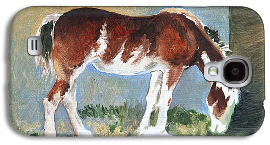 Horse Galaxy S4 Case featuring the painting Clydesdale Colt Pad by Eileen Hale