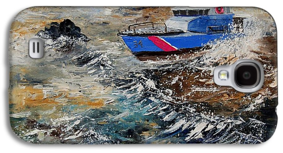 Sea Galaxy S4 Case featuring the painting Coastguards by Pol Ledent