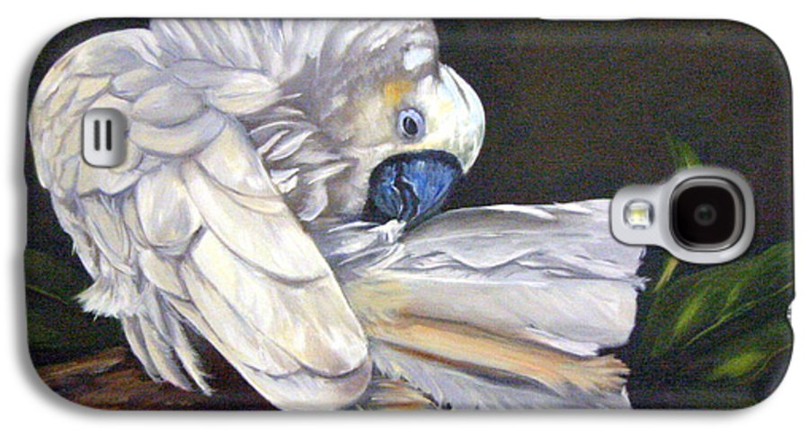 Birds Galaxy S4 Case featuring the painting Cockatoo Preening by Anne Kushnick