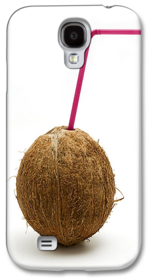 White Background Galaxy S4 Case featuring the photograph Coconut With A Straw by Fabrizio Troiani