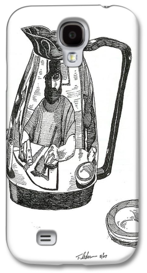 Pen And Ink Galaxy S4 Case featuring the drawing Coffee Pot by Tobey Anderson