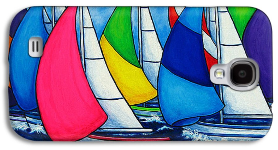 Boats Galaxy S4 Case featuring the painting Colourful Regatta by Lisa Lorenz