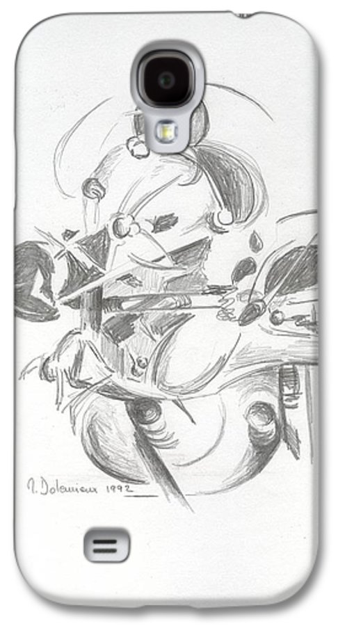 Abstract Galaxy S4 Case featuring the drawing Combat by Muriel Dolemieux