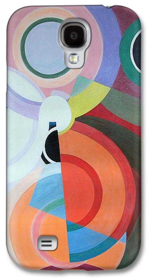 Abstract Galaxy S4 Case featuring the painting Complement by Muriel Dolemieux