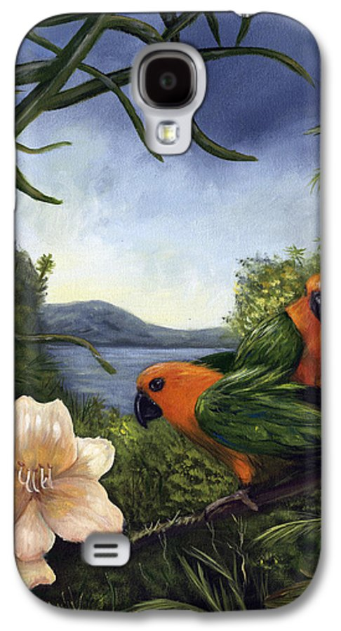 Landscape Galaxy S4 Case featuring the painting Conures by Anne Kushnick