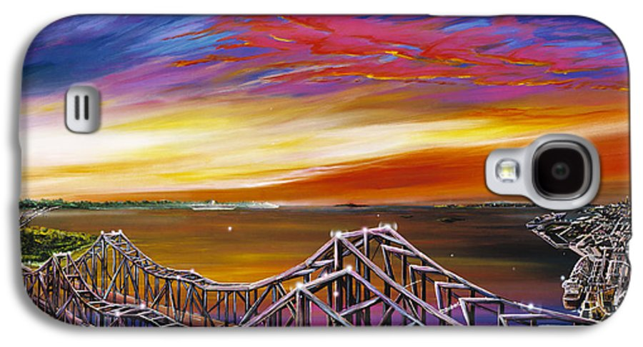 Clouds Galaxy S4 Case featuring the painting Cooper River Bridge by James Christopher Hill