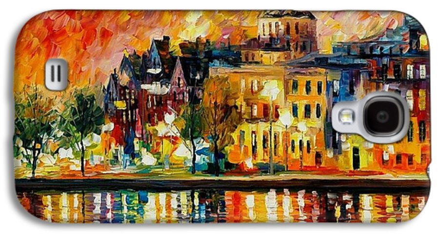 City Galaxy S4 Case featuring the painting Copenhagen Original Oil Painting by Leonid Afremov