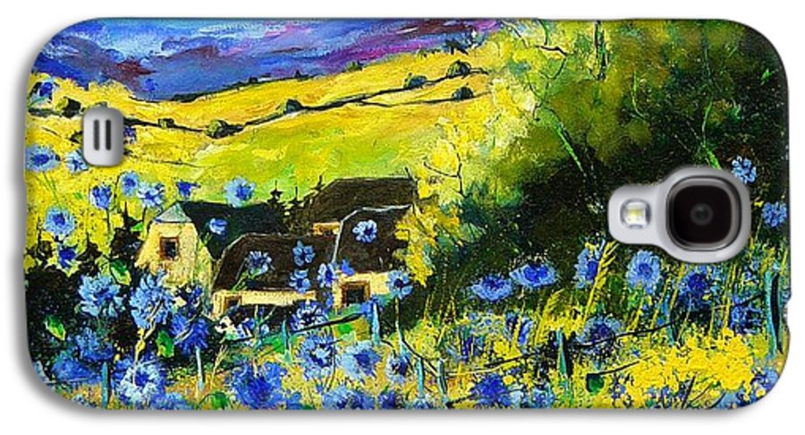 Flowers Galaxy S4 Case featuring the painting Cornflowers In Ver by Pol Ledent