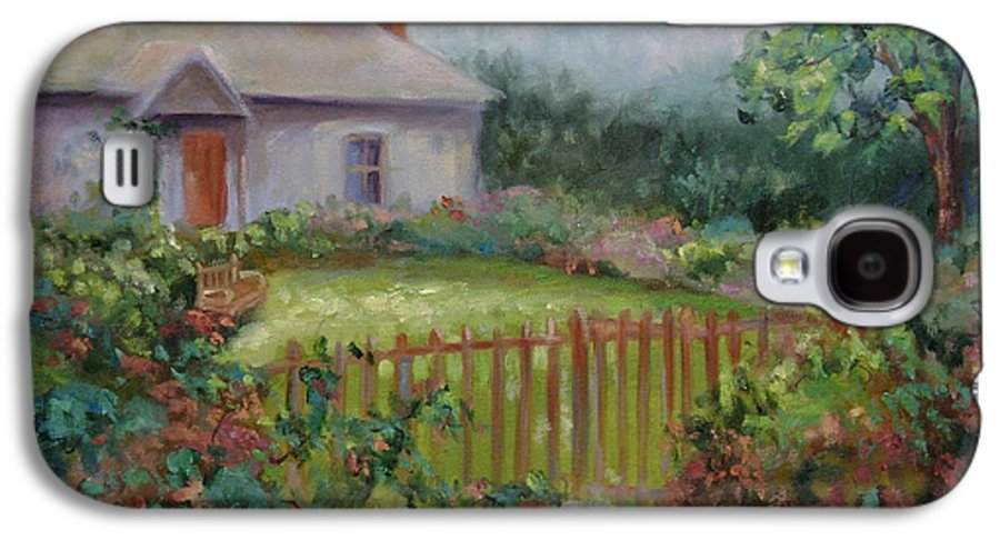 Cottswold Galaxy S4 Case featuring the painting Cottswold Cottage by Ginger Concepcion