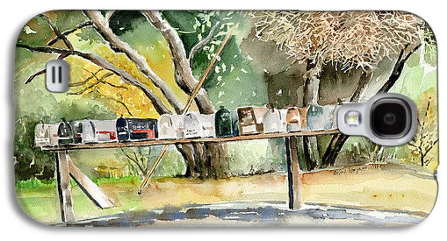Mailboxes Galaxy S4 Case featuring the painting Country Mailboxes by Arline Wagner