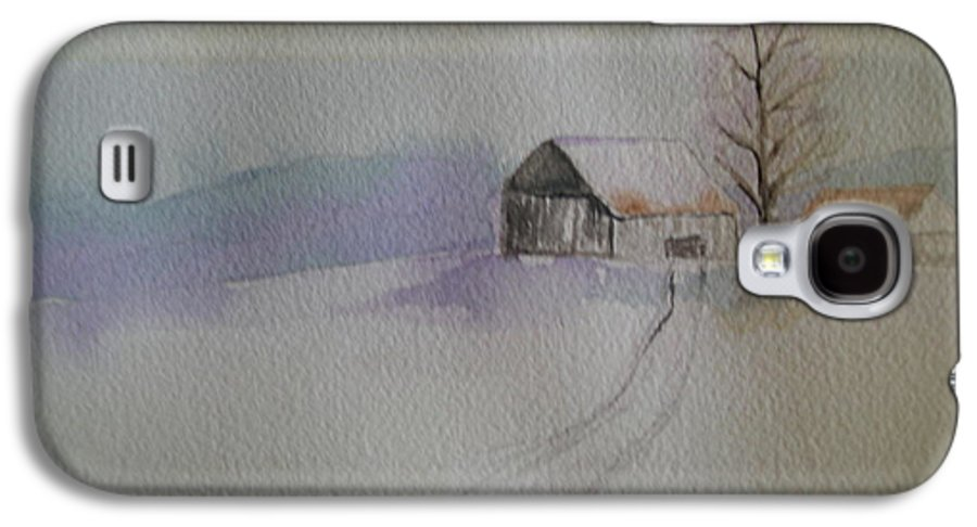 Barn Snow Winter Tree Landscape Cold Galaxy S4 Case featuring the painting Country Snow by Patricia Caldwell