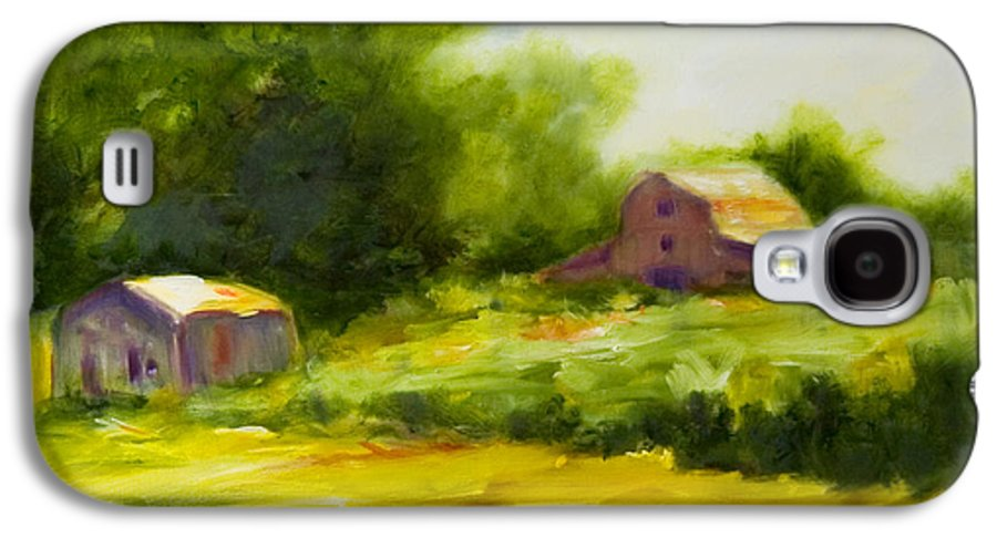 Landscape In Green Galaxy S4 Case featuring the painting Courage by Shannon Grissom