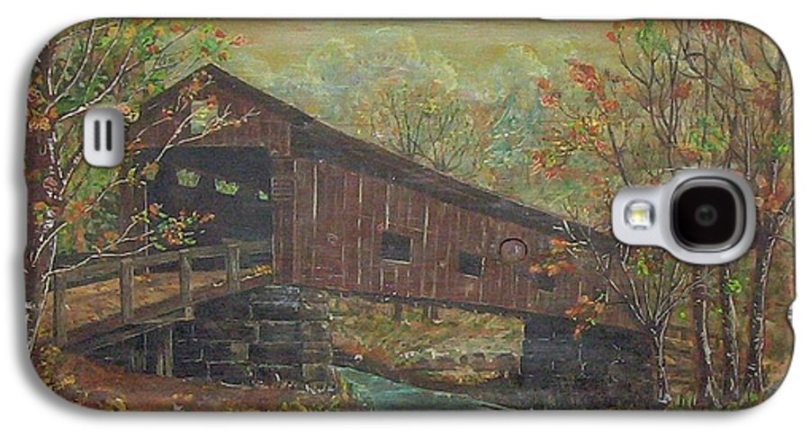 Bridge Galaxy S4 Case featuring the painting Covered Bridge by Phyllis Mae Richardson Fisher