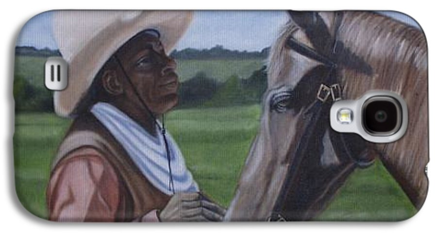 Portrait Galaxy S4 Case featuring the painting Cowboy2 by Toni Berry