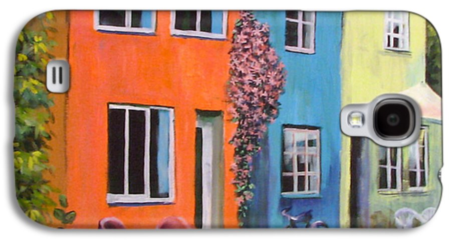 Cozy Galaxy S4 Case featuring the painting Cozy Street by Art Nomad Sandra Hansen