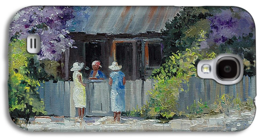 Floral Galaxy S4 Case featuring the painting Crape Myrtle And Ladies Of Darien by Glenn Secrest