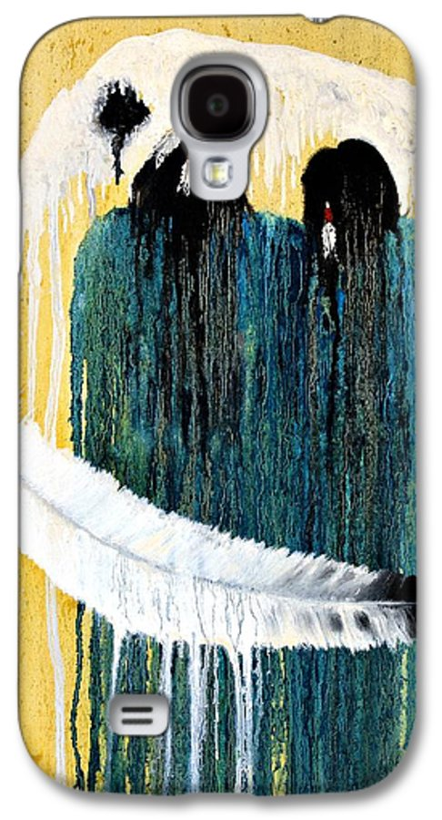 Native American Galaxy S4 Case featuring the painting Crying For A Vision by Patrick Trotter