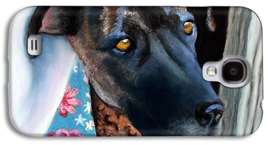 Great Dane Galaxy S4 Case featuring the painting Whats Going On? by Minaz Jantz