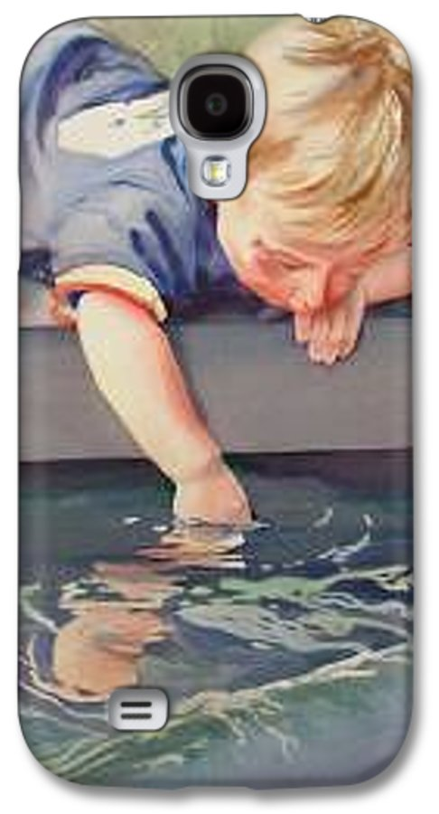 Boy Playing In Water Galaxy S4 Case featuring the painting Curious by Marlene Gremillion