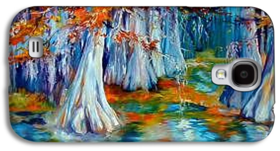 Tree Galaxy S4 Case featuring the painting Cypress Trees Along The Bayou by Marcia Baldwin