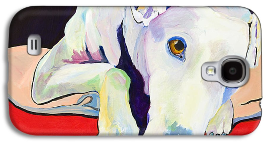 Animals Pets Greyhound Galaxy S4 Case featuring the painting Cyrus by Pat Saunders-White