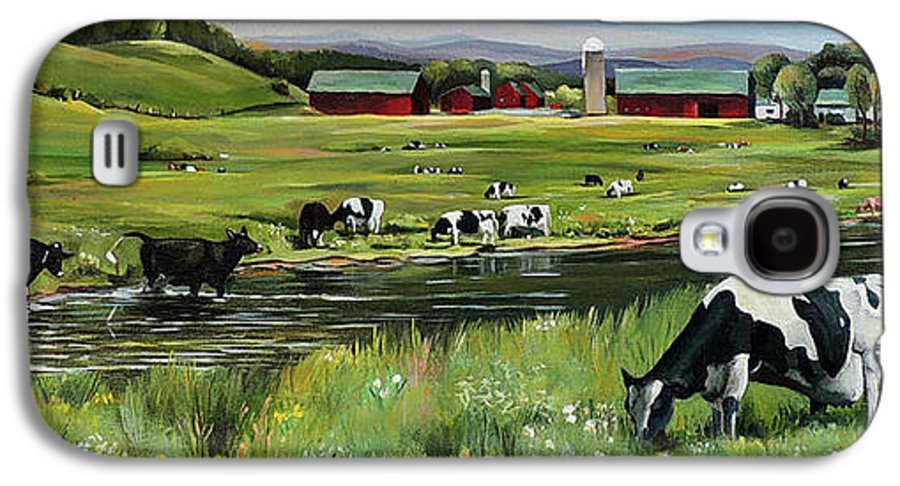 Landscape Galaxy S4 Case featuring the painting Dairy Farm Dream by Nancy Griswold