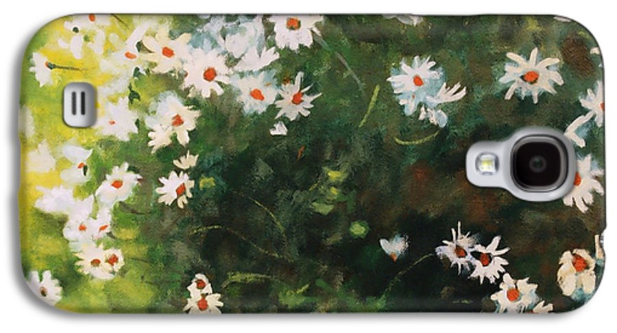 Daisies Galaxy S4 Case featuring the painting Daisies by Iliyan Bozhanov