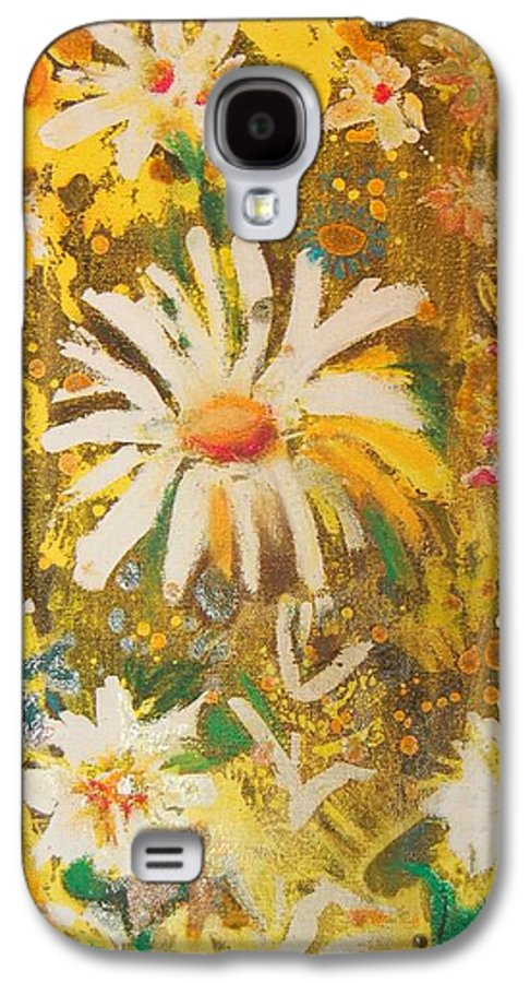 Floral Abstract Galaxy S4 Case featuring the painting Daisies In The Wind Vii by Henny Dagenais