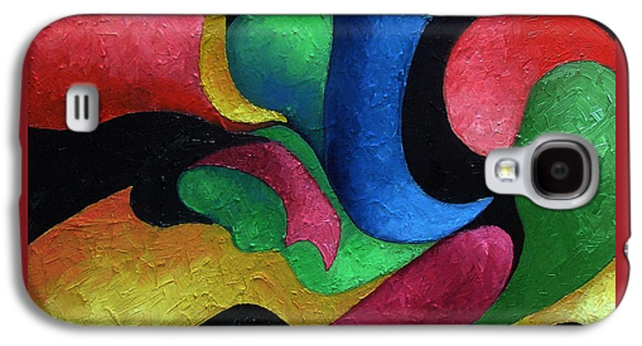 Abstract Galaxy S4 Case featuring the painting Dance With Me by Elizabeth Lisy Figueroa