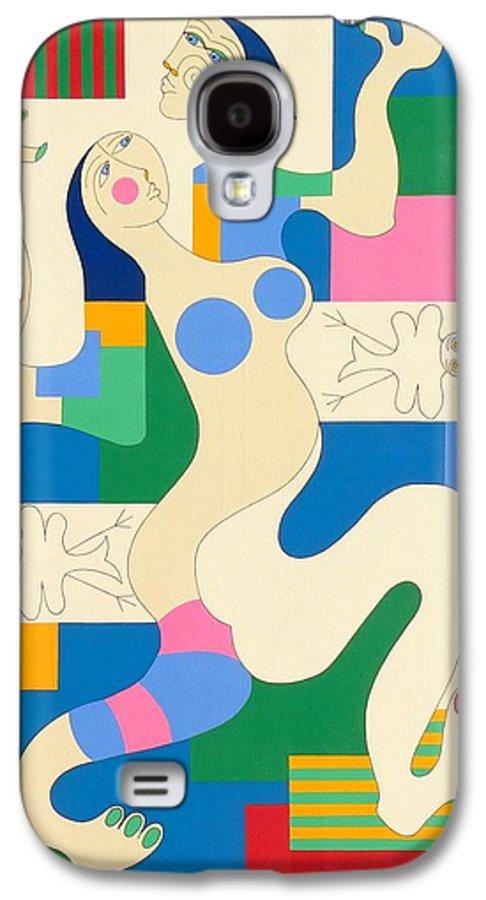 Modern Constructivisme People Birds Original Stylisme Galaxy S4 Case featuring the painting Dancing by Hildegarde Handsaeme