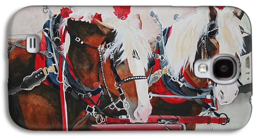 Horse Galaxy S4 Case featuring the painting Dandy Duo by Jean Blackmer
