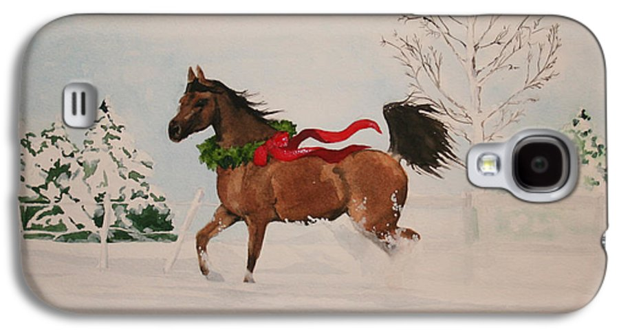 Horse Galaxy S4 Case featuring the painting Dashing Thru The Snow by Jean Blackmer
