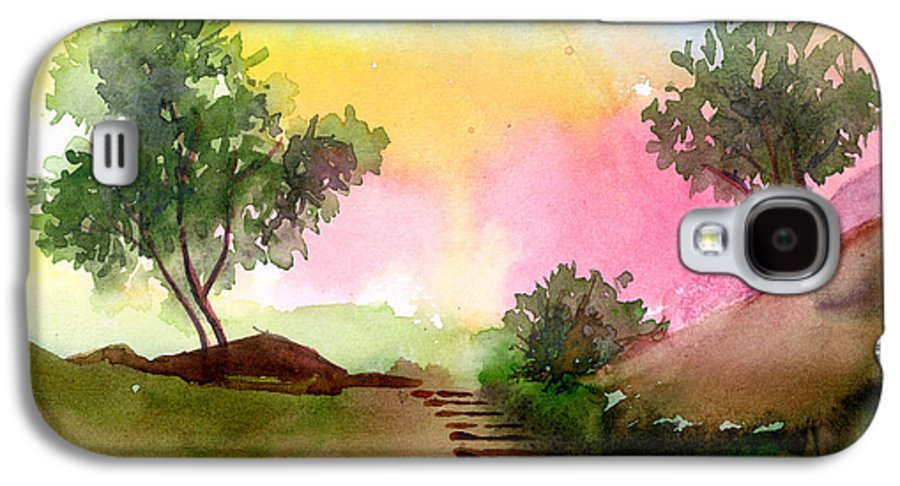 Landscape Galaxy S4 Case featuring the painting Dawn by Anil Nene