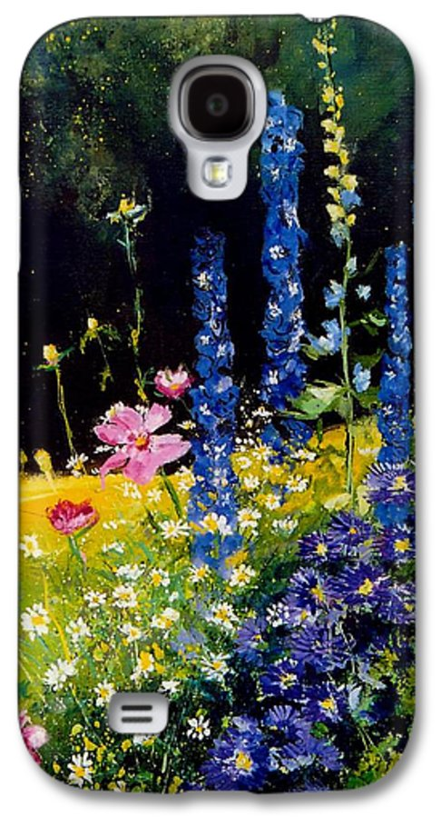 Poppies Galaxy S4 Case featuring the painting Delphiniums by Pol Ledent