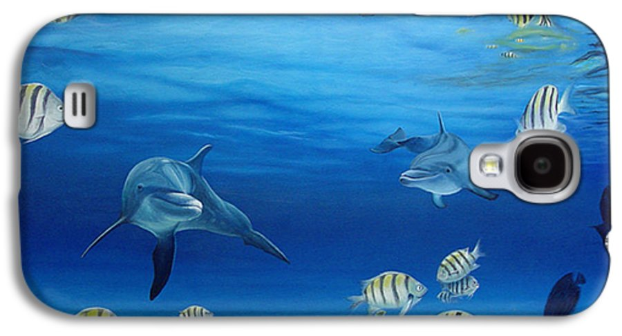Seascape Galaxy S4 Case featuring the painting Delphinus by Angel Ortiz