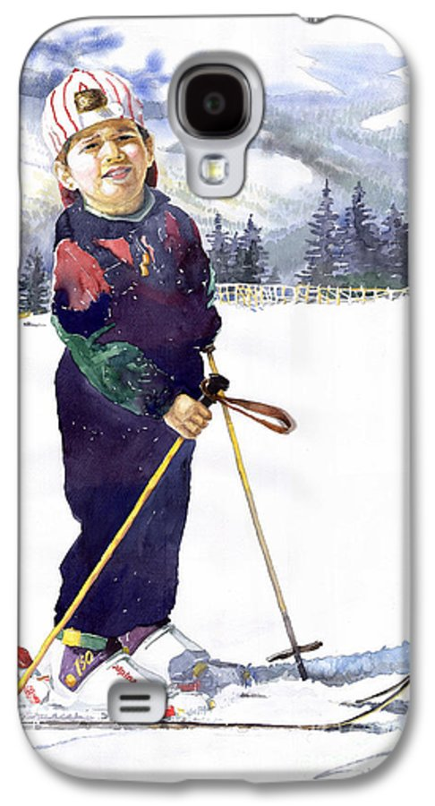 Watercolor Watercolour Figurative Ski Children Portret Realism Galaxy S4 Case featuring the painting Denis 03 by Yuriy Shevchuk