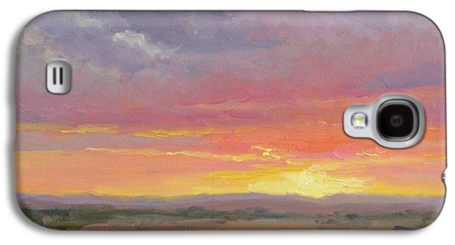 Sunset Galaxy S4 Case featuring the painting Desert Sundown by Bunny Oliver