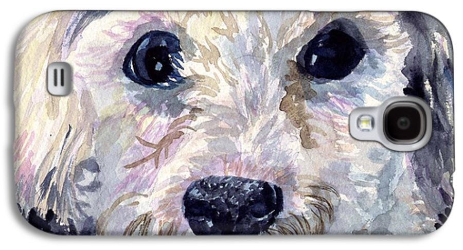 Bichon Frise Galaxy S4 Case featuring the painting Did You Say Lunch by Sharon E Allen