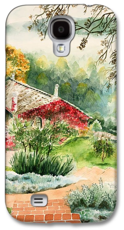 View Of Pathway To Red Cottage And Mountains In Mist Galaxy S4 Case featuring the painting Dievole Vineyard In Tuscany by Judy Swerlick