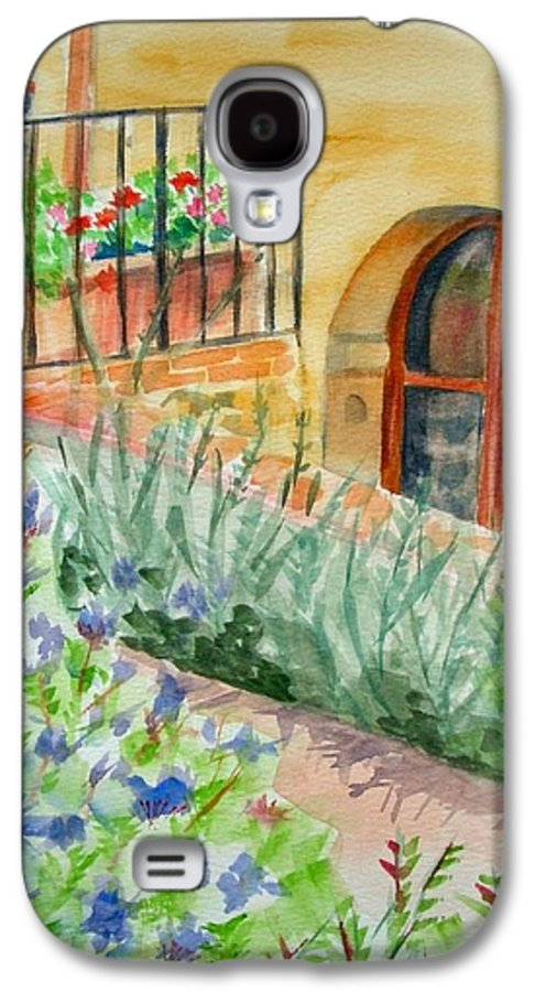 Flowers Surrounding Apartment On Vineyard Galaxy S4 Case featuring the painting Dievole Vineyard by Judy Swerlick