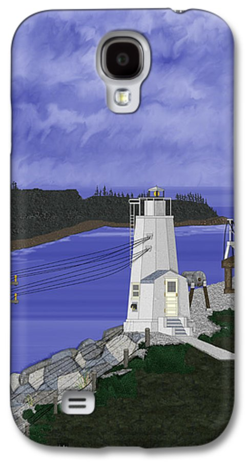 Lighthouse Galaxy S4 Case featuring the painting Dofflemeyer Point Lighthouse At Boston Harbor by Anne Norskog
