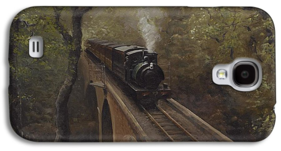 Steam Galaxy S4 Case featuring the painting Dolgoch Viaduct by Richard Picton