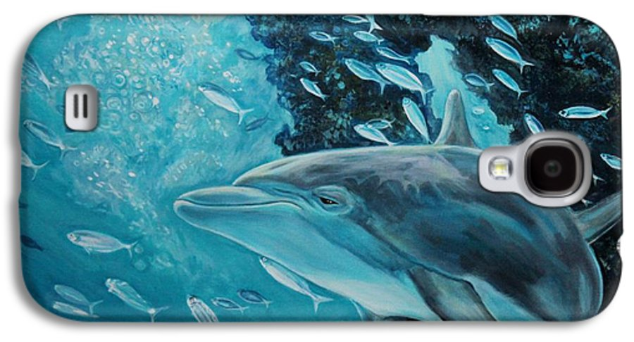 Underwater Scene Galaxy S4 Case featuring the painting Dolphin With Small Fish by Diann Baggett