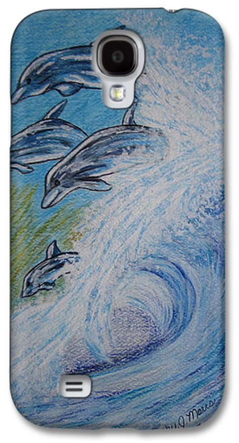 Dolphins Galaxy S4 Case featuring the painting Dolphins Jumping In The Waves by Kathy Marrs Chandler