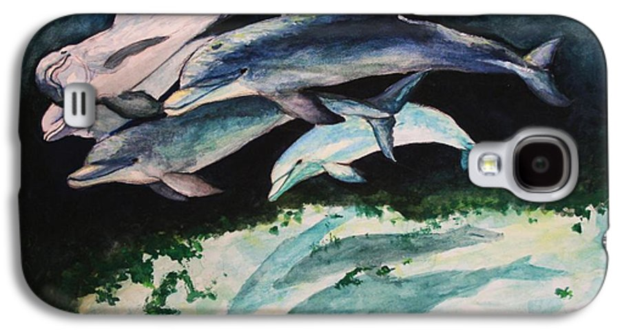 Dolphins Galaxy S4 Case featuring the painting Dolphins by Laura Rispoli