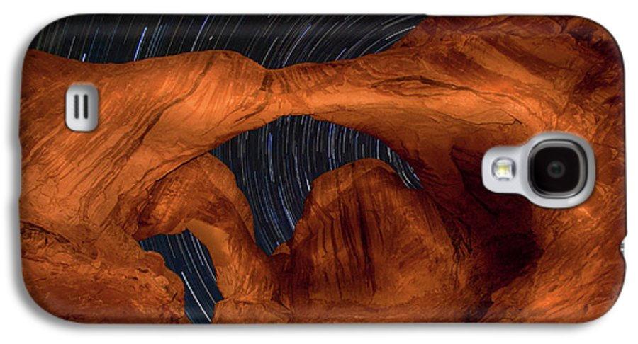 3scape Photos Galaxy S4 Case featuring the photograph Double Arch Star Trails by Adam Romanowicz