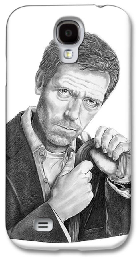 Drawing Galaxy S4 Case featuring the drawing Dr. House Hugh Laurie by Murphy Elliott